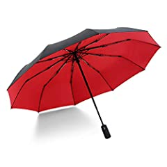 Idea Regalo - ZXCN Ombrello Pieghevole Portatile Antivento Piccolo Doppio Strato Fresco a dieci Ossa Compatto Pioggia Ombrello Da Viaggio di Alta Qualità Ombrello per Uomo e Donna Rosso Rubino