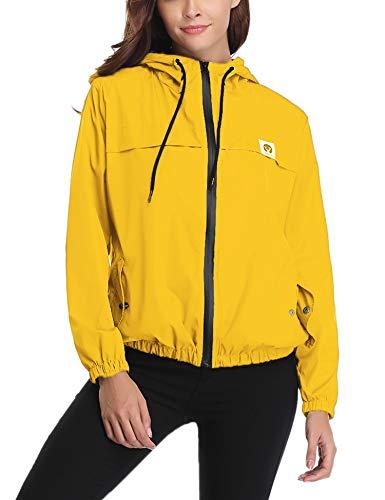 Abollria Damen Regenjacke Leichte Kurze Jacke mit Atmungsaktiv Futter Herbst wasserdichte Übergangjacken mit Kapuze Kurze Jacke