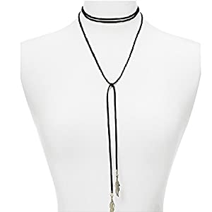 Contever® Bijoux Femmes Mode Collier en Cuir et Pendentif De Bib Choker DéClaration