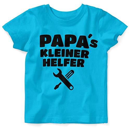 T-Shirt mit Spruch für Jungen Mädchen Unisex Kurzarm Papas Kleiner Helfer | handbedruckt in Deutschland | Handmade with Love, Farbe:Atoll, Grösse:80/86 ()