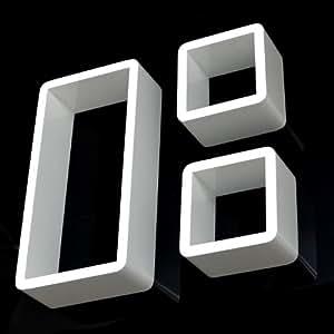 3er Set Lounge Cube Regal Design Retro 70er Wandregal Hängeregal in Weiß