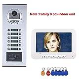 ZY 8 Appartamento/Famiglia Videocitofono Videocitofono RFID IR-Cut HD 1000TVL Telecamera Campanello con 12 Pulsanti 8 Monitor Impermeabile