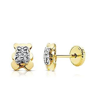 Iyé Biyé Jewels Ohrstecker für Babys / Mädchen, Motiv Teddybär, 6,5x5mm, Bicolor Gold 18Karat, Zirkoniasteine, mit Schraubverschluss