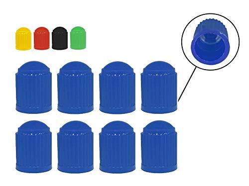 Zymbala 8X Auto Ventilkappen aus Kunststoff in Blau. Passt auf jedes gängige Kfz Ventil (Schraderventil). Reifenventilkappe für Fahrrad, PKW, Motorrad, Moped Schubkarren LKW u. v. m.