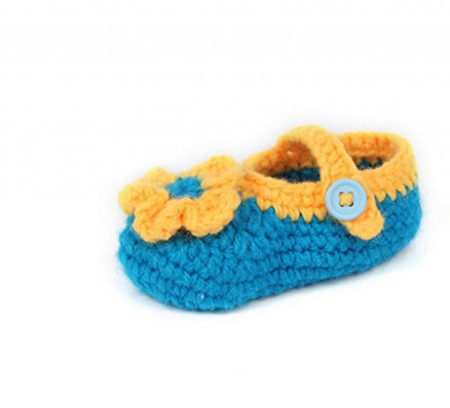 Smile YKK Gestrickte Baby Schuhe Krabbelschuhe flauschige Länge 11 cm Sonnenblume Pink Blume Enzianblau I
