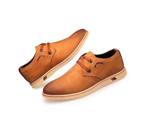 Die neuen Mann-Freizeit-Spitze-Leder-Schuhe echtes Leder-Geschäfts-Schuh-Rindleder-Art- und Weiseeinzelne Schuhe Yellow