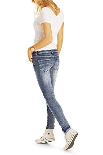 Bestyledberlin Damen Jeans, Skinny Hosen eng, Stretch Röhrenjeans, Zerissene Hüftjeans Slim Fit j81kw Blau