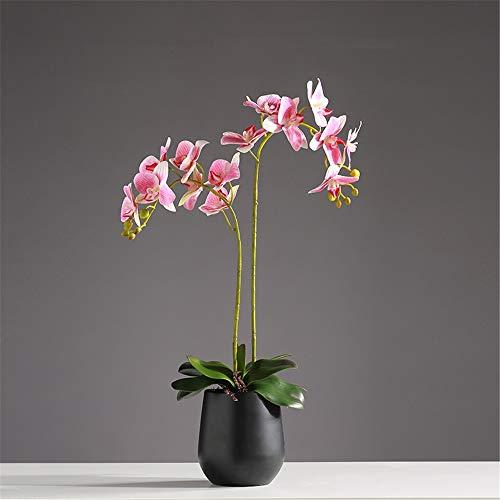 Lhy decoration grande stile orientale phalaenopsis del fiore artificiale della farfalla di simulazione orchid bonsai con vaso di ceramica casa della festa nuziale centrotavola decor,rosa