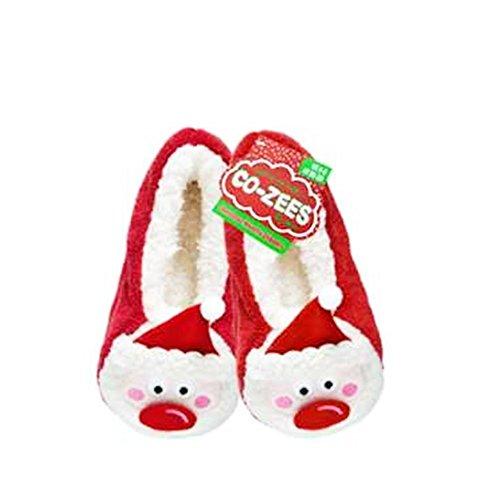 Assorted Womens Co-Zees Christmas Slippers Sherpa Fleece Lined Ballerina Slipper Socks - 13 Designs