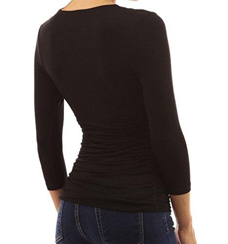 Minetom Femmes Sexy Chemise Froncée à col V à 3/4 manches Slim Top Hauts Blouse Noir