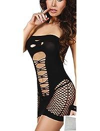 r-dessous Netzkleid Minikleid mini Kleid Netz Shirt Top Dress Clubwear schwarz mit Waeschesack