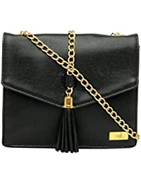 Yelloe Smart Black Synthetic Leather Sling Bag With Metal Chain For Evening Party
