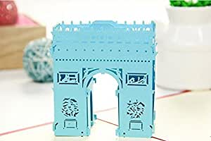 MADE4U Arc De Triomphe The Kirigami Papercraft 3D Pop Up Card Anniversary Baby Birthday Easter Halloween Mother's Day New Home New Year's Thanksgiving Valentine's Day Wedding Christmas Card Blue HK3006-B by MADE4U