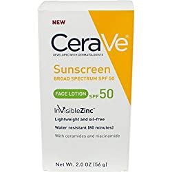 CeraVe SPF 50 Sunscreen Face Lotion, 2 Ounce