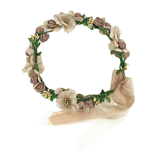 YAZILIND elegante floral accesorio flores artificiales Mori con estilo de pelo corona de la boda corona de pelo decorado fiesta marron flor diadema tocado para mujeres ninas