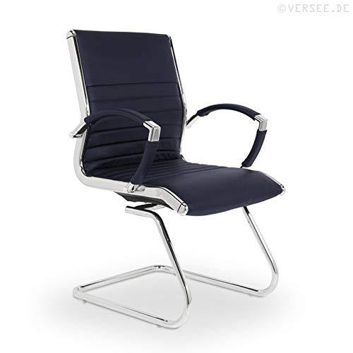 VERSEE Design Besucherstuhl Montreal -- Echt-Leder -- dunkelblau -- Konferenzstuhl, Freischwinger, Schwingstuhl, Meetingstuhl, Besprechungsstuhl, Bürodstuhl, mit Armlehnen, Ergonomisch, massives Metall-gestell in Chrom, niedrige Rückenlehne, Designklassiker, hochwertige Verarbeitung, Büro Sessel, 150 kg belastbarkeit - Niedrige Rückenlehne Chrom