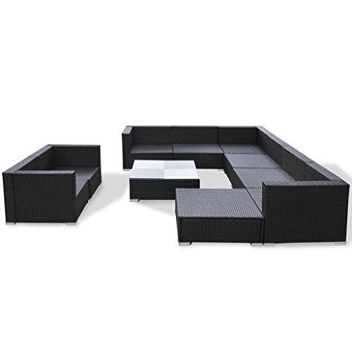 Festnight 32-tlg. Gartensofa Set mit 1 Teetisch Gartenlounge Garten Lounge-Set aus Polyrattan Loungegruppe Sitzgruppe für Terrasse Garten – Schwarz - 5