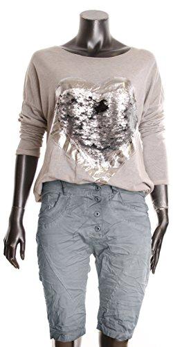 BASIC.de Damen Boyfriend Bermuda-Shorts Sommer Chino-Hose Grau