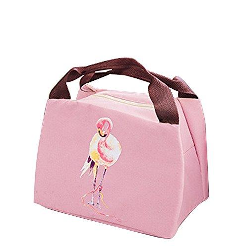 Qearly niedlich Flamingo Style Tote Déjeuner pique-nique Sac isotherme réutilisable Fermeture Éclair Lunch Sac Rosa