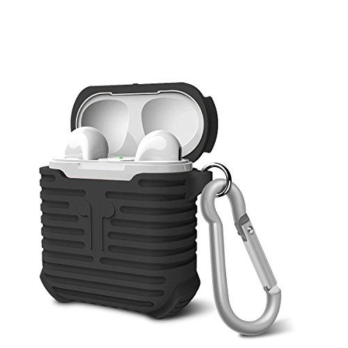 AirPods Silikon Schutz Hülle , Kopfhörer Tasche Schutzhülle Shockproof Staubdichte für Apple airpods (schwarz)
