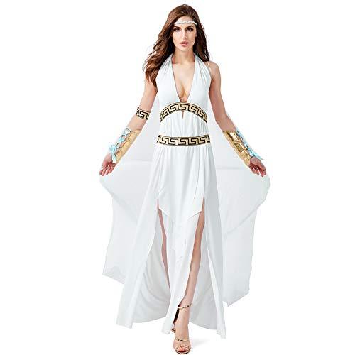 Mythologie Kostüm Griechisch Römische - COSOER Antike Römische Griechische Mythologie Göttin Cosplay Kostüme ägyptische Königin Weiße Kleidung Für Halloween Weibliche Abnutzung,L
