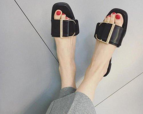 OL PU Open Toe Flat Wide Gürtelschnalle Anti-Rutsch Easy Match Frauen Party Mode Hausschuhe EU Größe 35-39 , black , 38 (Open Shorts Mens Wide)