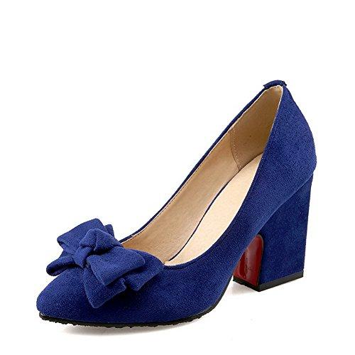 AgooLar Damen Spitz Zehe Hoher Absatz Mattglasbirne Ziehen Auf Pumps Schuhe Blau