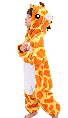 Kinder Flannel Schlafanzug Tier Kostüme Cartoon Cosplay Nachtwäsche Pyjamas Mädchen Jungen Tierkostüme für Halloween Kinderparty Karneval - Giraffe Größe 125 für Körpergröße (Mädchen Halloween Happy Kostüme Für)