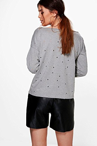 Bleu Femmes Tall Torra Distressed Slash Neck Sweatshirt Bleu