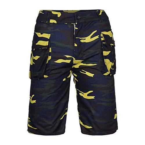 Camouflage Woven Boxer (LIGESAY Herren Shorts Camouflage Stil Baumwolle Multi-Tasche Overalls Shorts Hose Bermuda Running Blend Compression Swimming Taschen Woven Kargo Athletics Mountainbike)