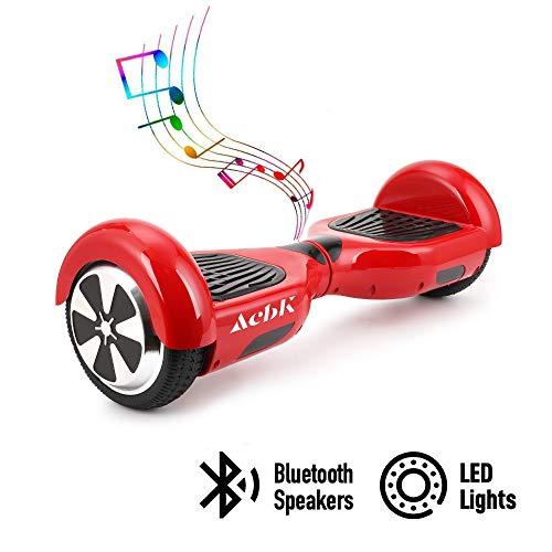 """ACBK - Patinete Eléctrico Hover Autoequilibrio con Ruedas de 6.5"""" (Bluetooth + Luces LED) Velocidad máxima: 10-12 km/h - Autonomía 10-20 km (Rojo)"""