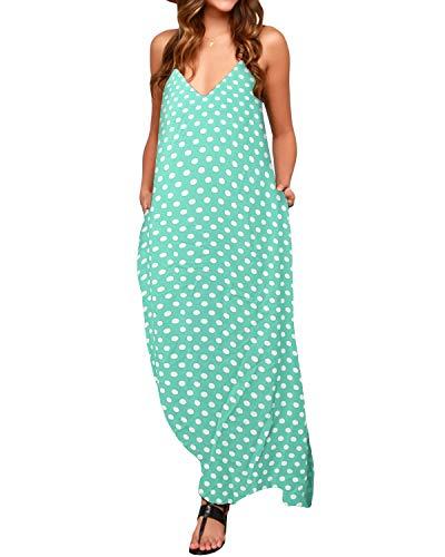 ZANZEA Casual Elegante Bohemio Algodón Vestido Suelto Largo Playa Lunares Cuello V sin Mangas para Mujeres EU 36 Verde1