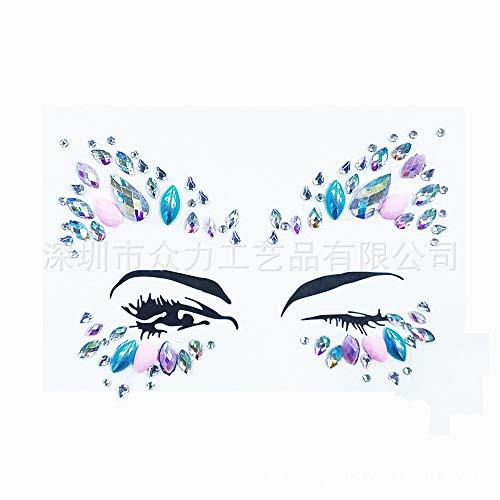 adgkitb Neujahr DIY Auge Bühne Kunst Make-up Strass Aufkleber Stelle Direktvertrieb Auge Gesicht Stick Bohrer 20 16 * 12cm - Kunst Snowboard