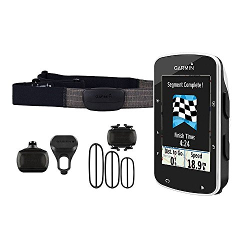 Garmin Edge 520 GPS Bundle Bike Computer con Smart Notification, Include Fascia Cardio e Sensori a Cadenza/Velocità, Nero/Bianco