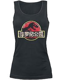 Jurassic Park Chinese Logo Top Mujer Negro