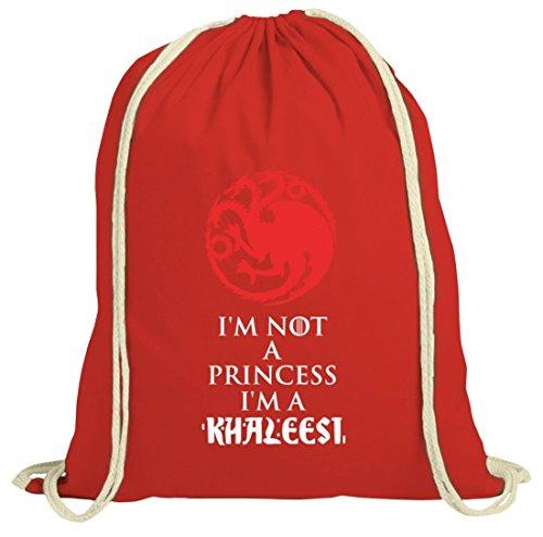 Serien natur Turnbeutel mit I'm Not A Princess I'm A Khaleesi Motiv von ShirtStreet Rot Natur