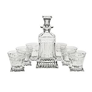 "Set 7 Pièces en cristal, Carafe À Whisky Et 6 Verres, Verres À Whisky, cristal, Collection ""IMPERIAL - II"", style moderne - uniques (GERMAN CRYSTAL powered by CRISTALICA)"