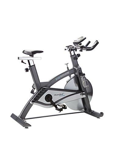 skandika Indoor Cycle Triathlon Pro Mars, SF-1160, Speed bike, Trinkflaschenhalterung und Trinkflasche, Transportrollen und Handpulssensoren, silber, grau