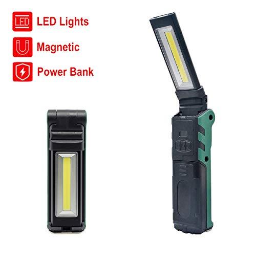 COB LED-Arbeitslicht, WASAGA USB-wiederaufladbare Prüflampe, tragbar, faltbar, 270 Grad drehbar mit Magnet und Haken für Innen- oder Außenaktivitäten - Outdoor Access Unit