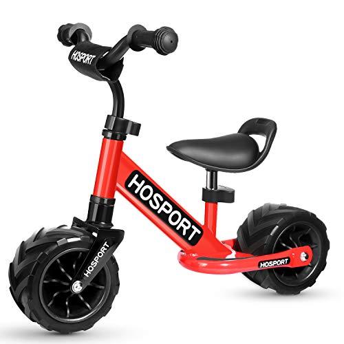 HOSPORT Kinder Laufrad für Kleinkinder Lauflernrad Balance Bike von Jungen und Mädchen 18 Monaten bis 3,5 Jahren Kinderlaufrad Training Bike mit Höhenverstellbar (Rot)