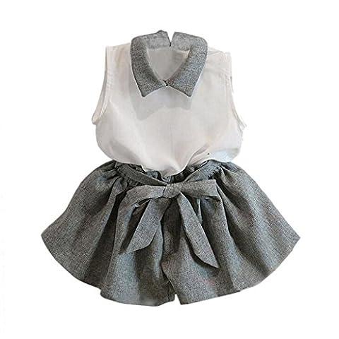 OVERMAL Le T - Shirt De VêTements Sans Manches Short Set Costume, Les Filles (130)