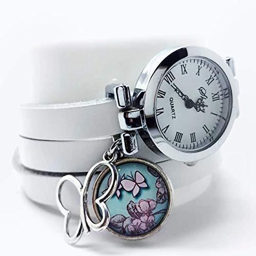 montre bracelet en cuir blanc,'Papillons roses', montre 3 tours de poignet - argenté - cadeau noel, cadeau femme, cadeau saint valentin, idée cadeau - (ref.44a) FBA