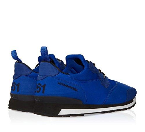 Basket Hogan Rebel Running R261 en cuir et tissu bleu - Code modèle: HXM2610U390CB80XAB Azur