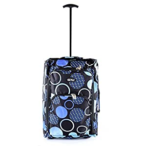 Airline Size Wheeled Cabin Travel Bag Suitcase Case Hand Luggage Trolley Holdall (Blue Circles)