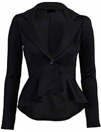 New Womens Fitted Dip Hem Peplum Style Ladies Button Blazer Jacket