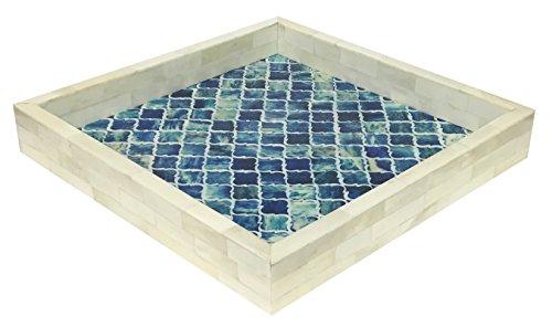 Handicrafts Home Plateau décoratif - Petit Déjeuner - Dessus de table à café Maure Marocain - Motif fait à la main - 30,5 x 30,5 cm, Résine, bleu/blanc, 12x12
