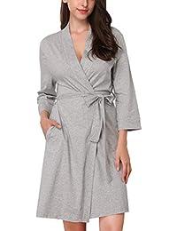 MEMORY BABY Batas Kimono Mujer Algodón con Cinturón 3/4 Mangas Pijama Corto Ropa de