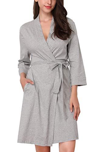 33a44d9d2c83 MEMORY BABY Donna Accappatoio Cotone Vestaglie Pigiama Kimono da Notte  Scollo a V Sexy Lunga Camicia