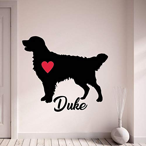 ljmljm Schwarz 42x54cm Familie Haustier Hund rotes Herz kreativ geschnitzten Zuhause Kunst Wandaufkleber -
