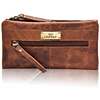 RFID Soft Flexible Leather Wallet for Women-Credit Card Slots, Mobile case Coin Purse with ID Window - Handmade by LEVOGUE (Cognac Vintage)